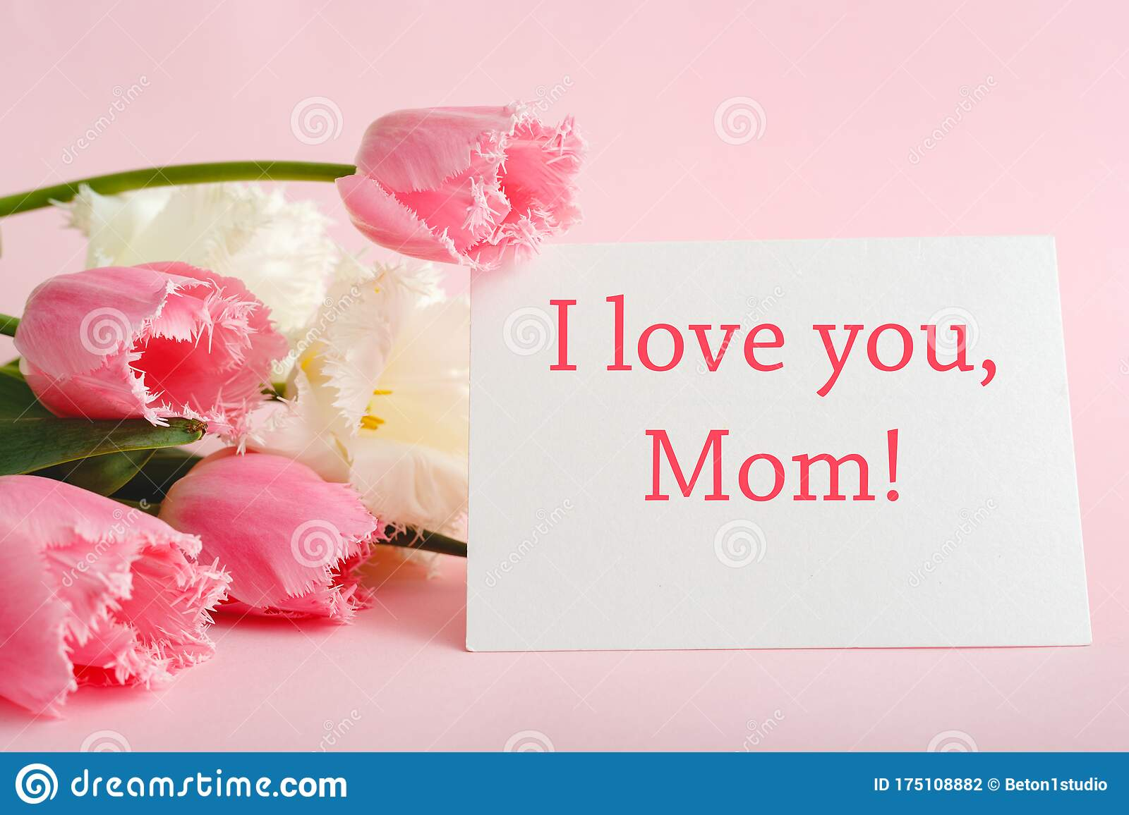 I Love You Mom Text On Gift Card In Flower Bouquet On Pink Background Greeting Card For Mom Happy Mothers Day Flower Delivery Stock Photo Image Of Love Congratulations 175108882