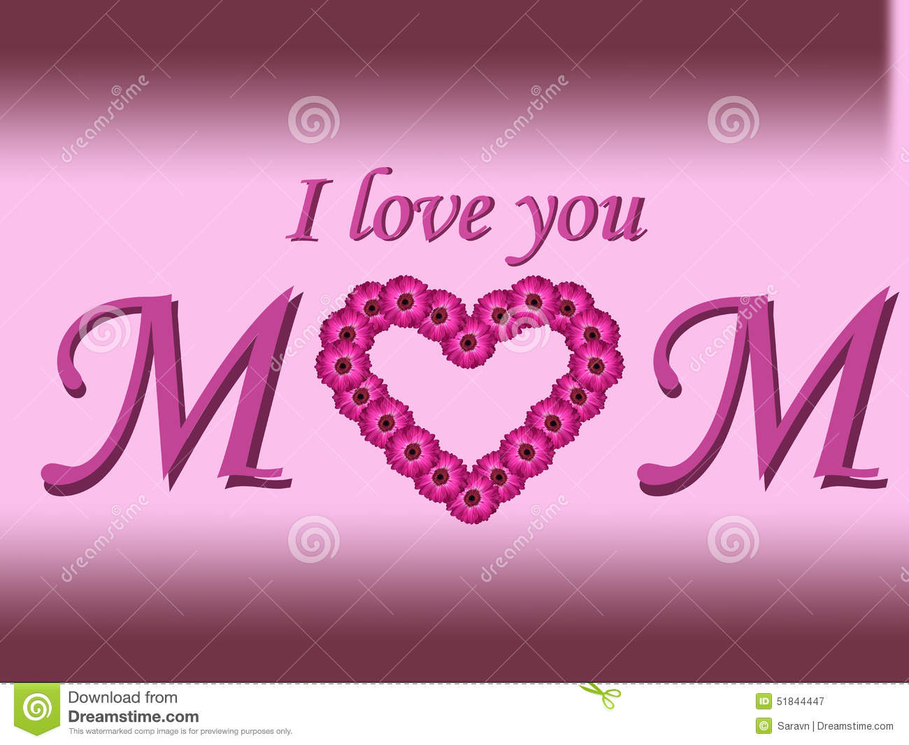 Wallpaper I Love You Mom : I Love You Mom Text Mother s Day card With Daisy Heart And Gradient Background Stock Image ...