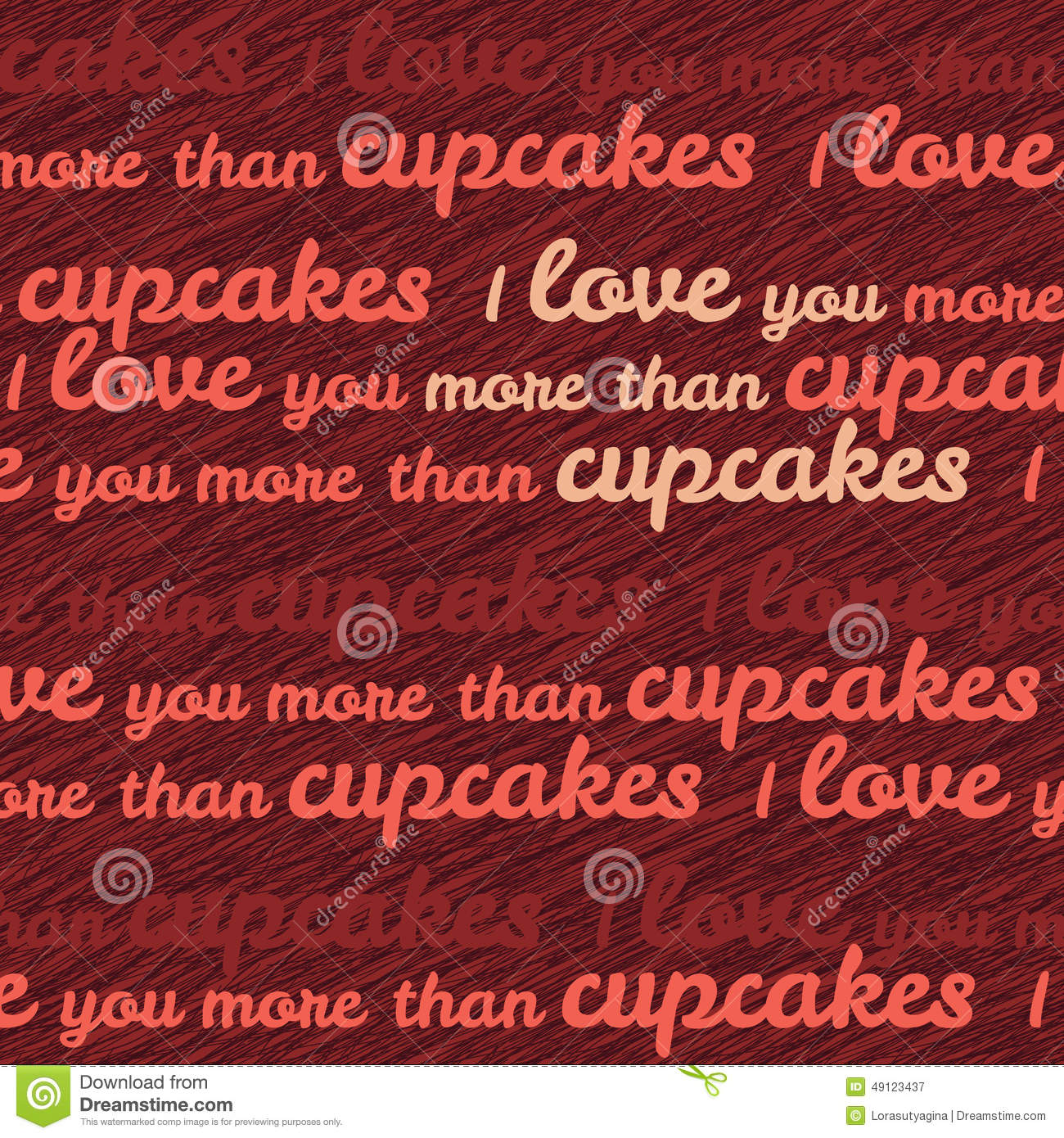 I Love You More Than Cupcakes Typography Funny Valentines Day