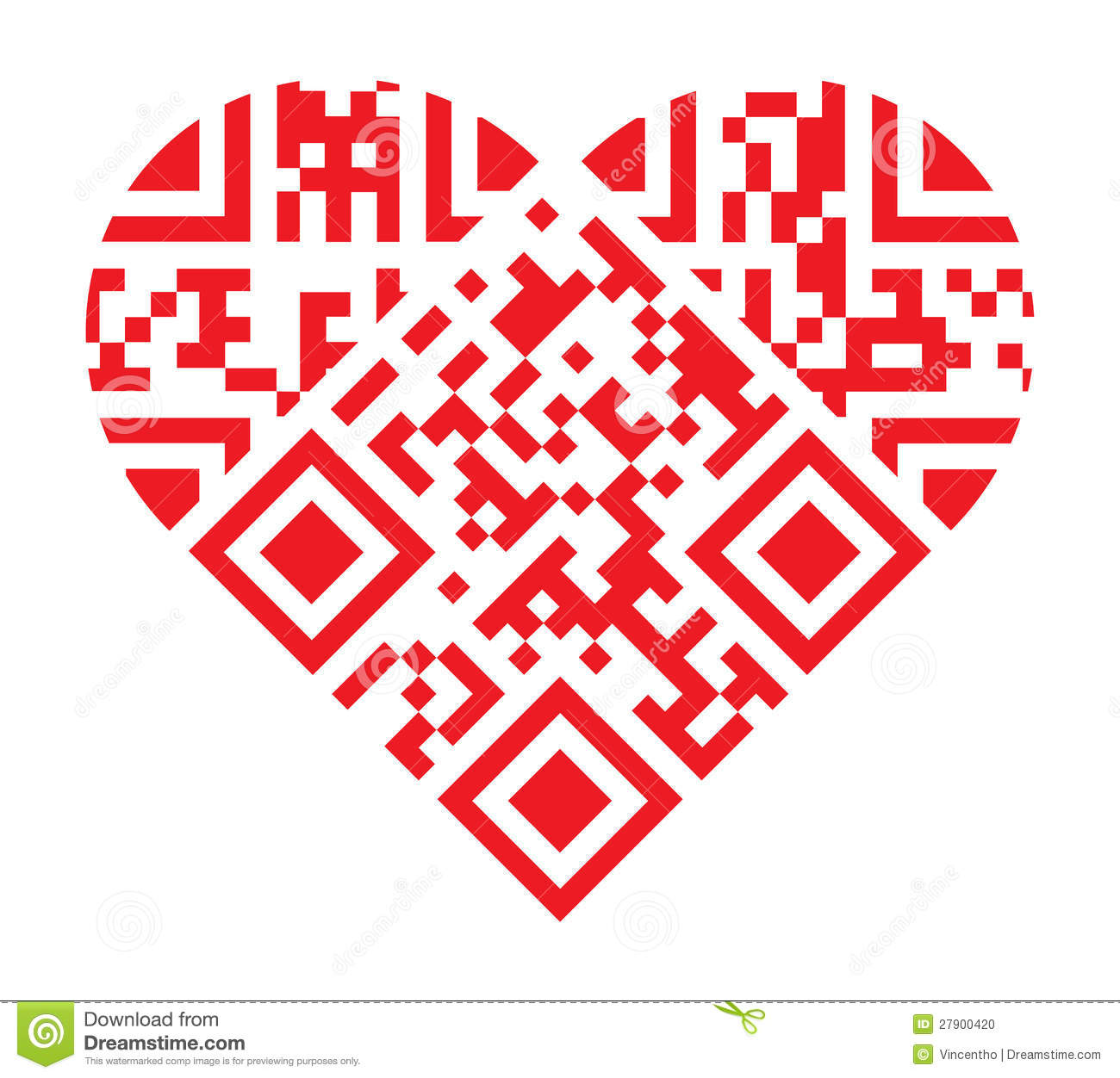 I Love You QR Code Red Heart Shape Stock Photo - Image ...