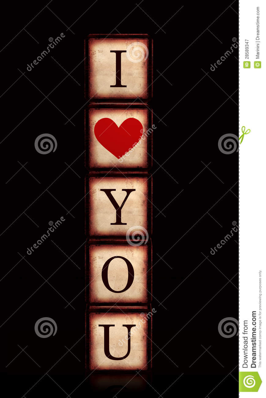 I Love You With Red Heart In 3d Wooden Cubes Vertical