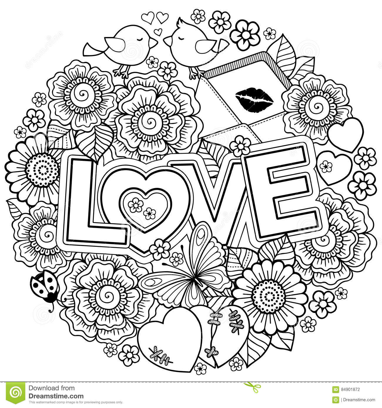 i love you rounder frame made of flowers butterflies birds