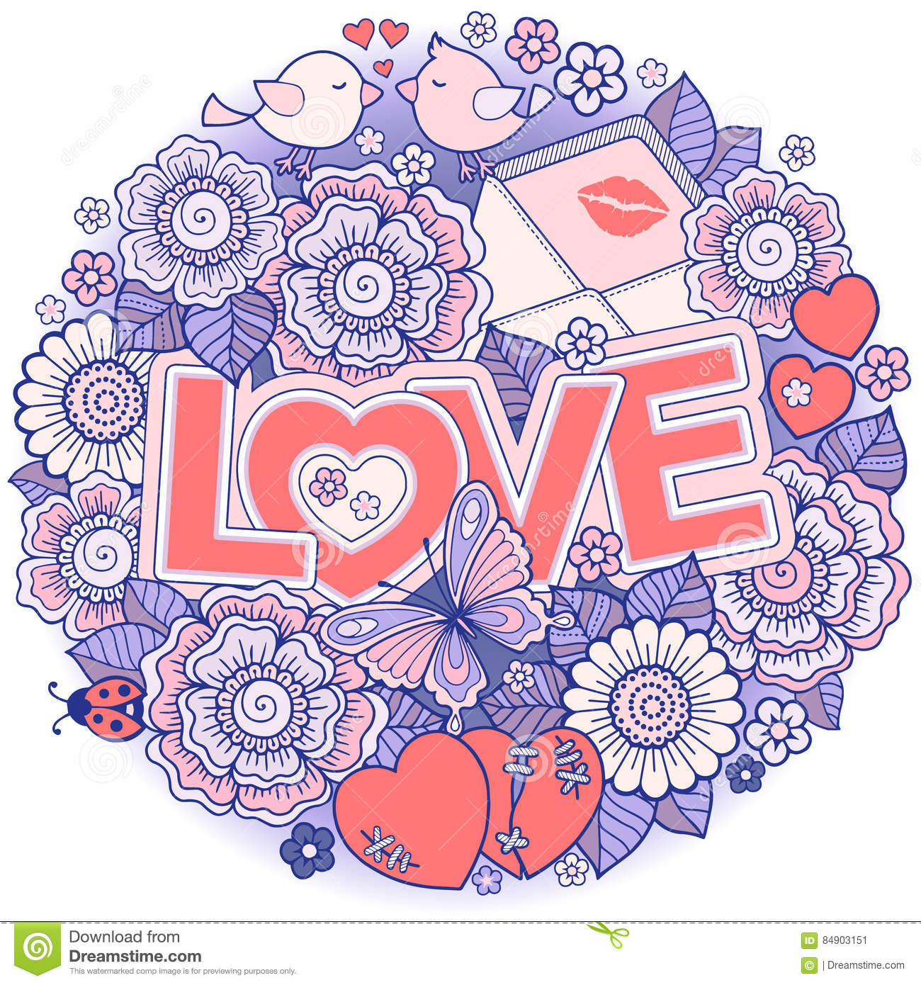 I Love You Rounder Frame Made Of Flowers Butterflies