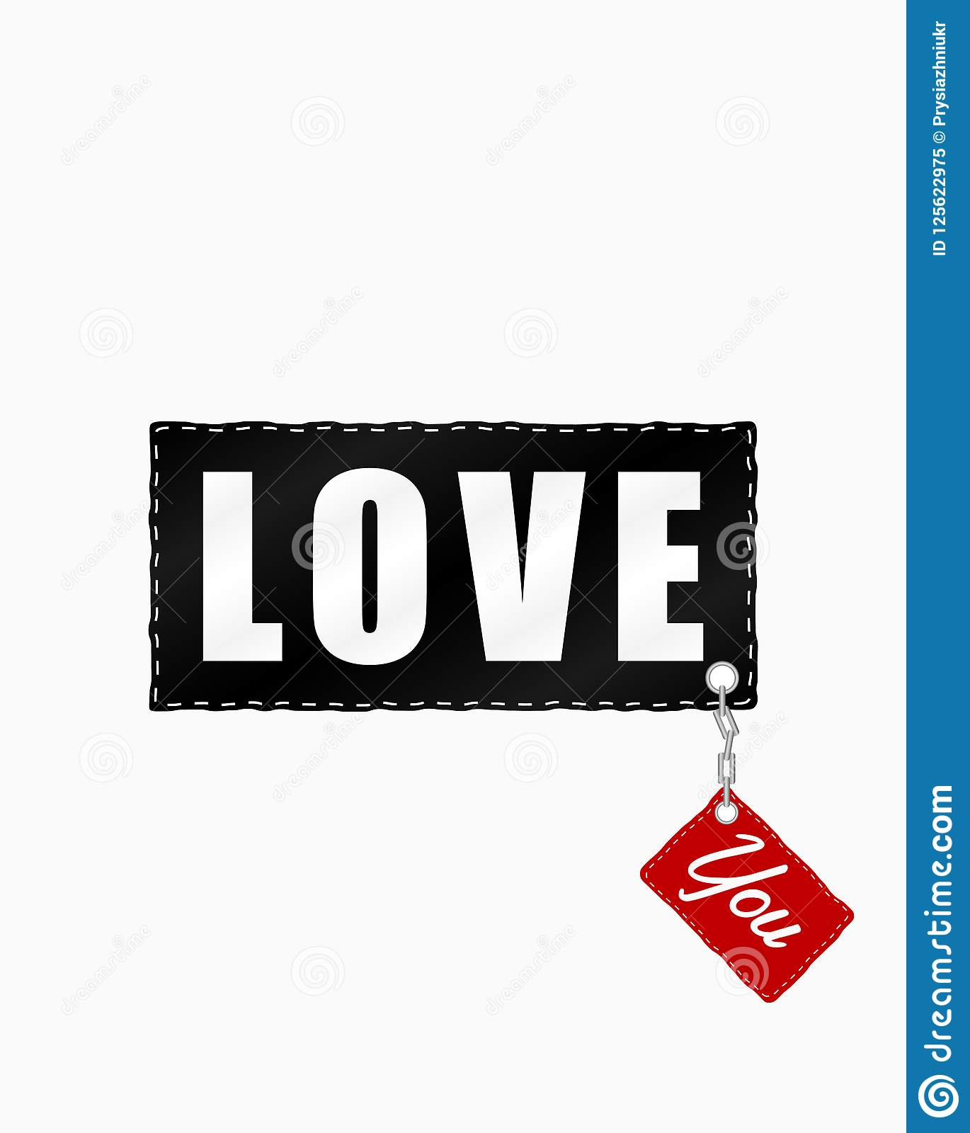 I Love You Slogan On Patch With Chain Fashion Typography For