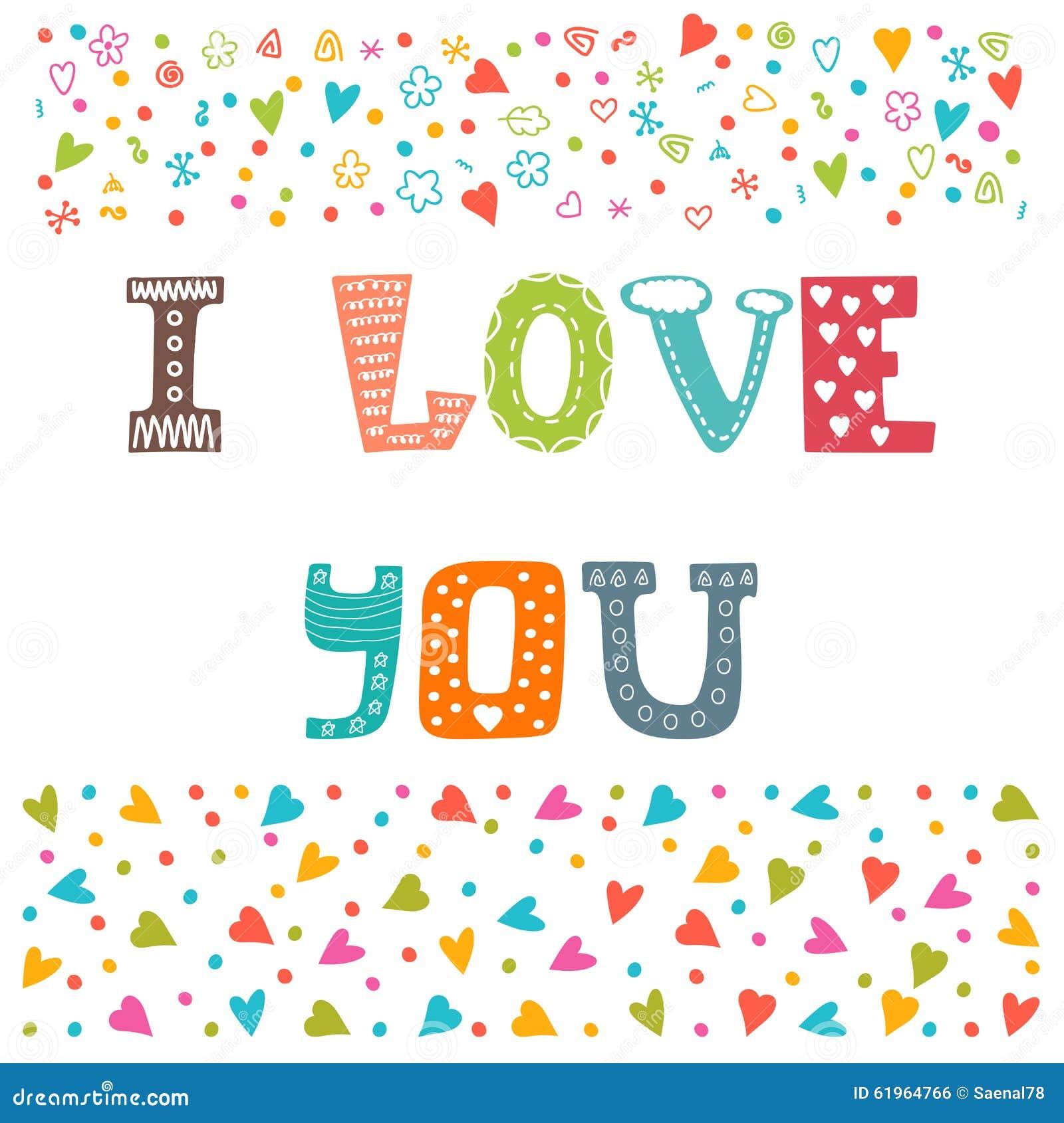 I Love You. St. Valentine's Greeting Card Template. Cute Postcard ...