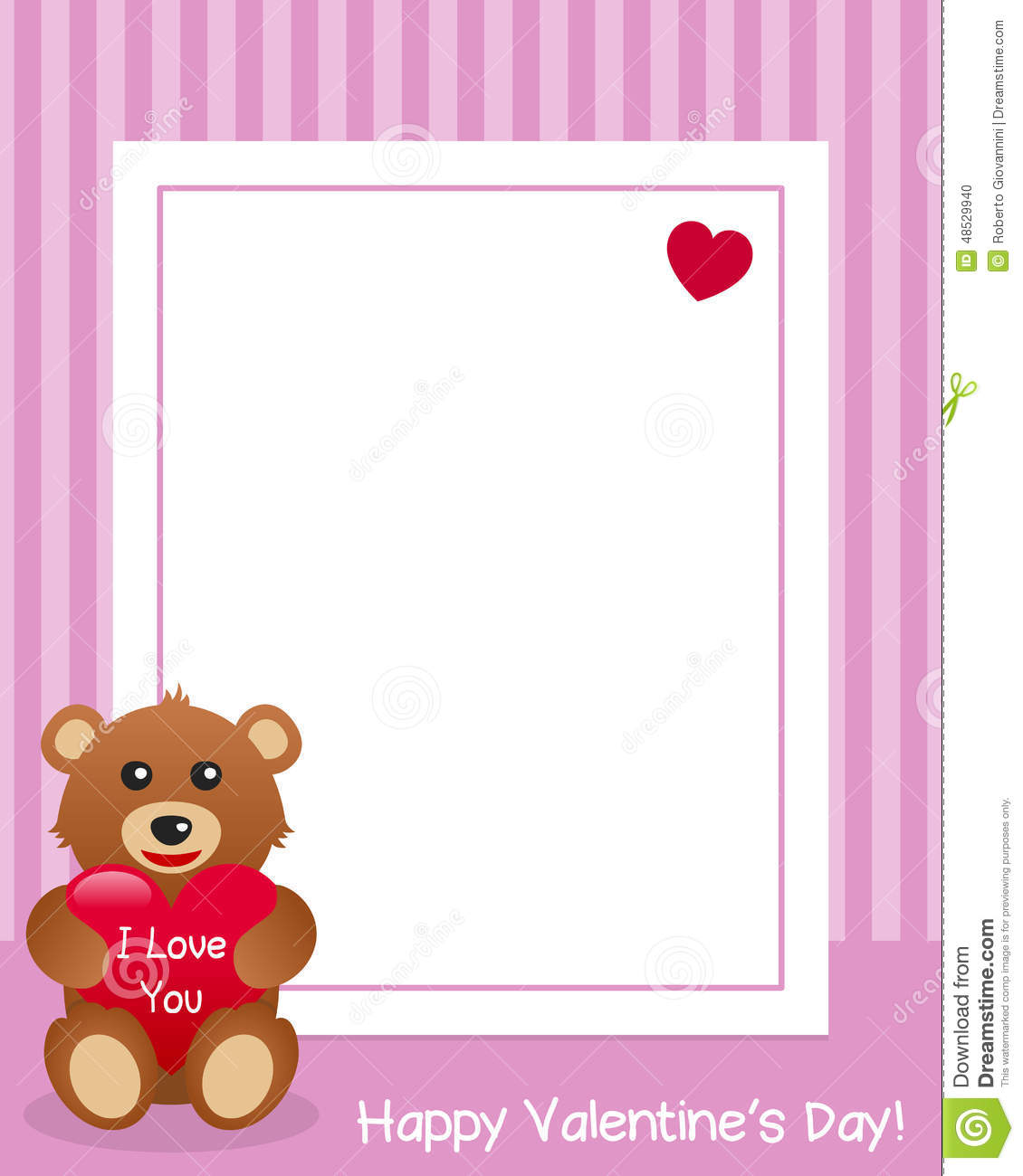 I Love You Teddy Bear Vertical Frame Stock Vector - Illustration of ...