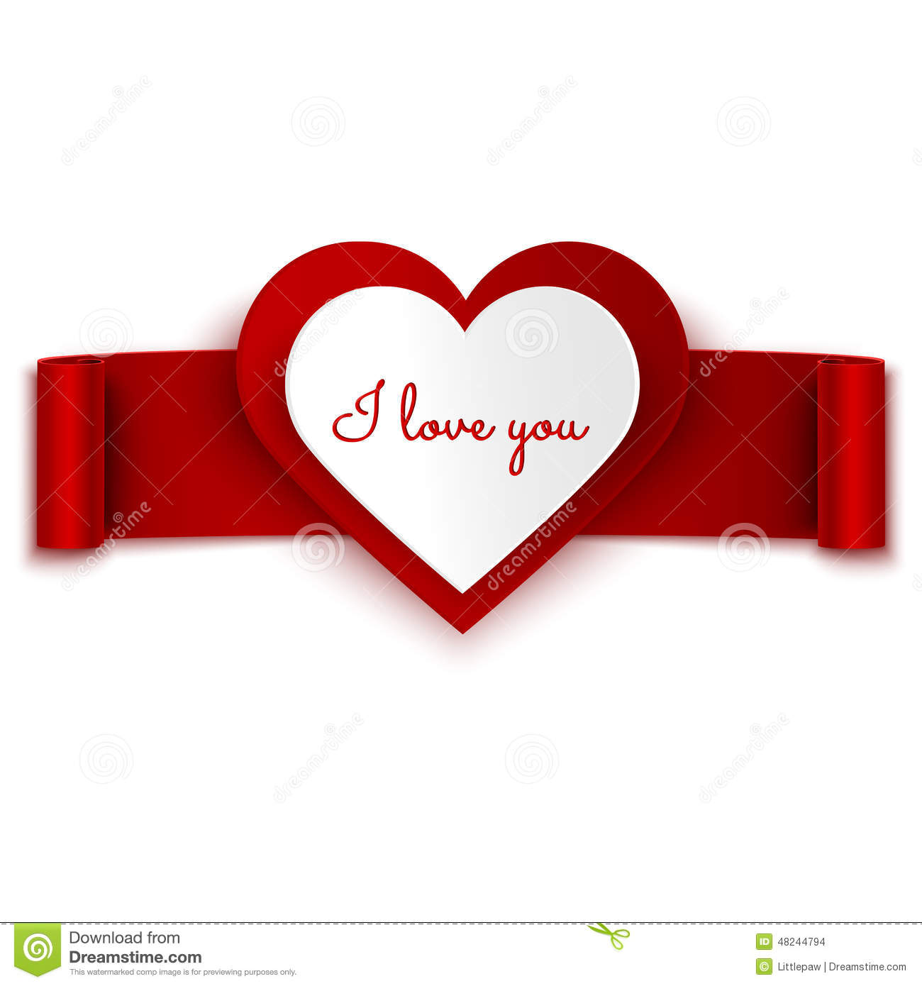 i love you text on heart and red ribbon banner isolated on white