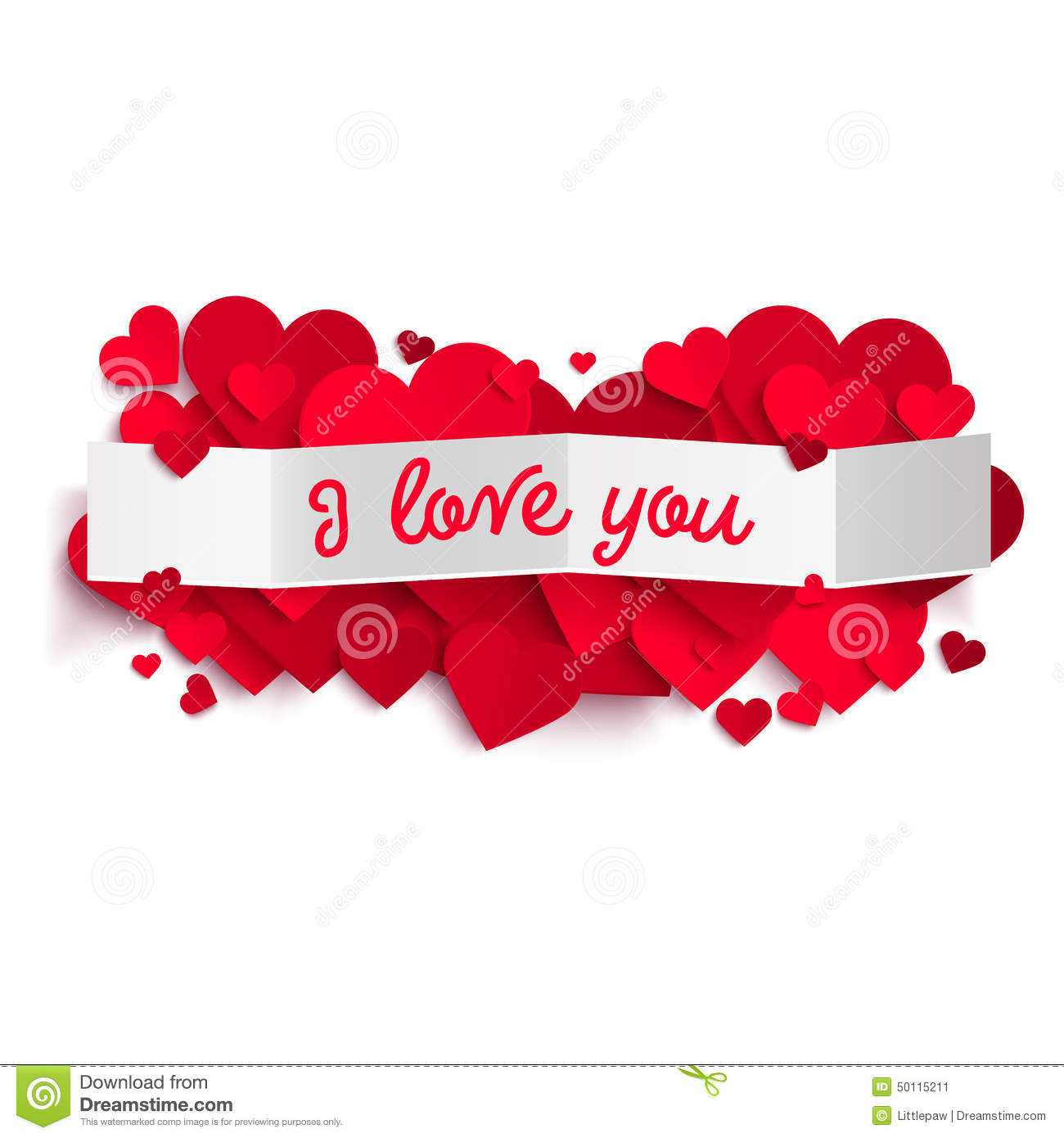 i love you text on white paper banner and realistic hearts stock
