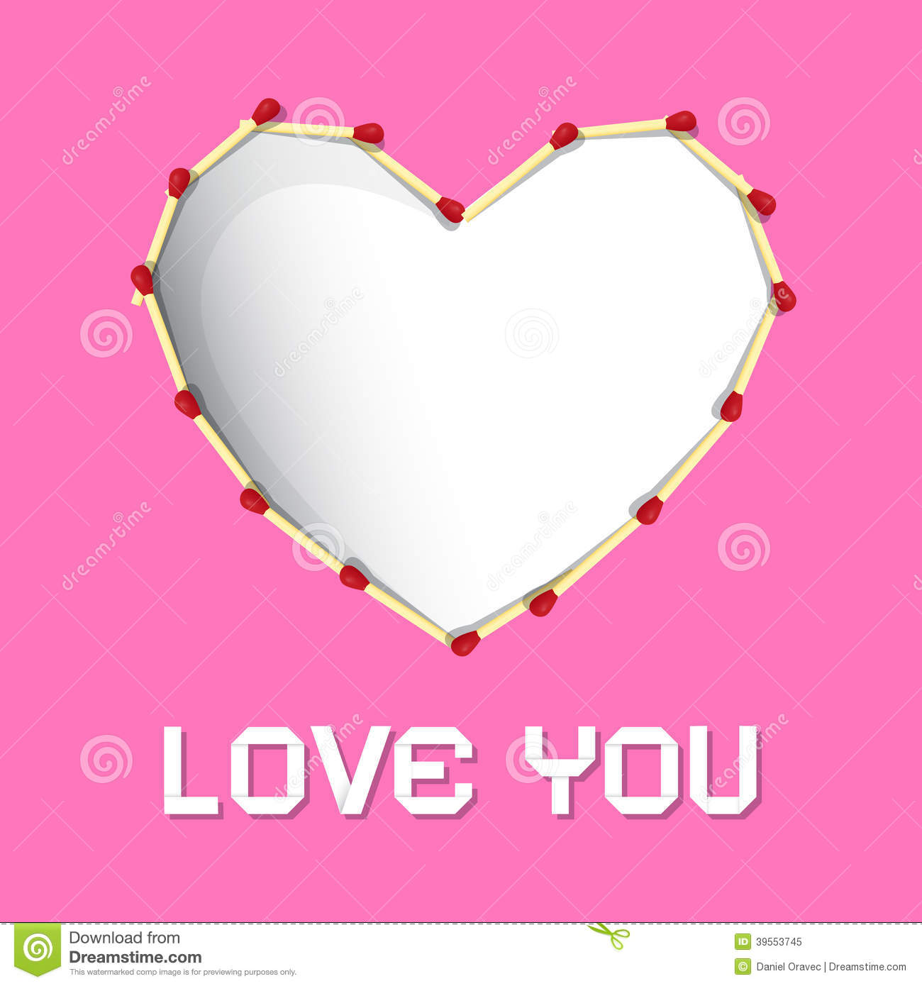 I Love You Theme Safety Matches Heart Stock Vector