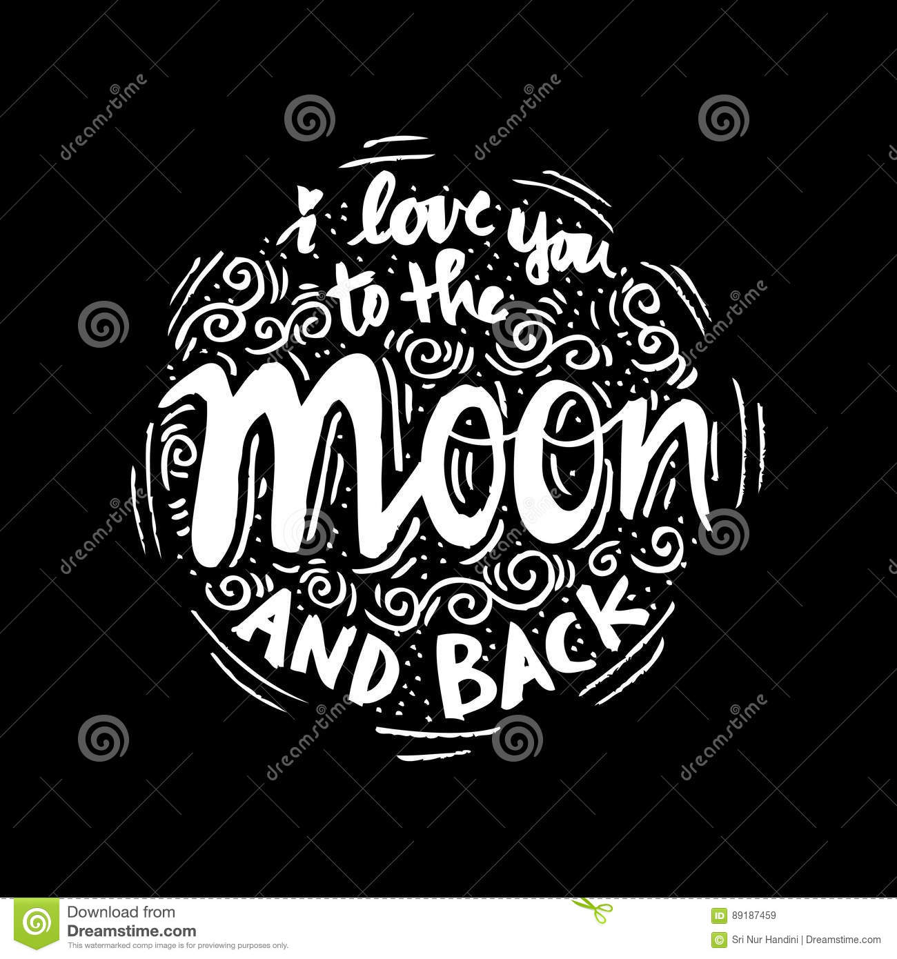 I Love You To The Moon And Back Calligraphic Cartoon ...