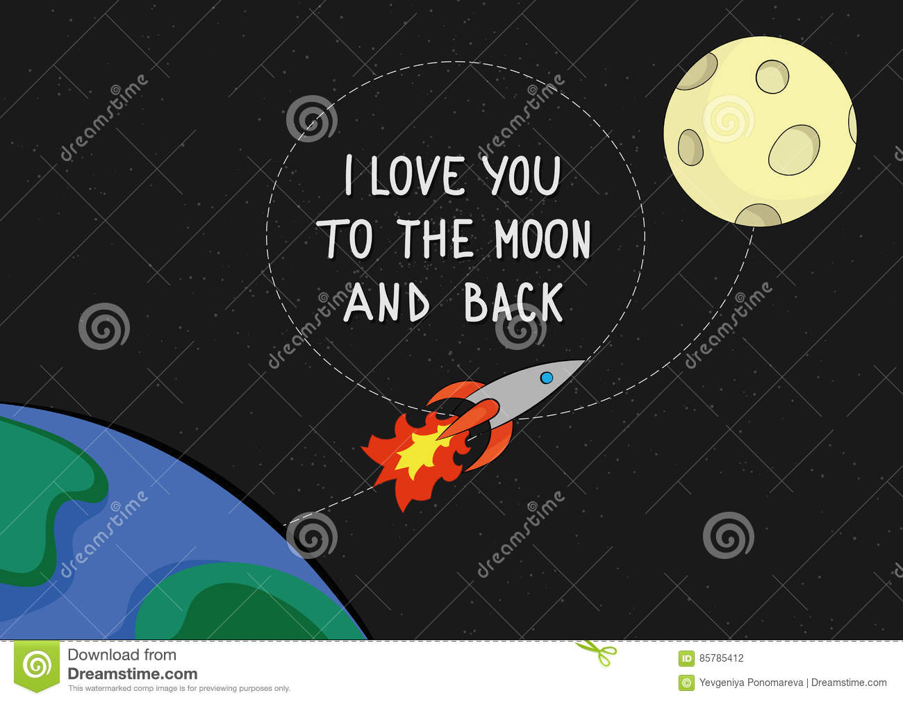 Love You To The Moon And Back Quote Card Stock Vector - Image ...