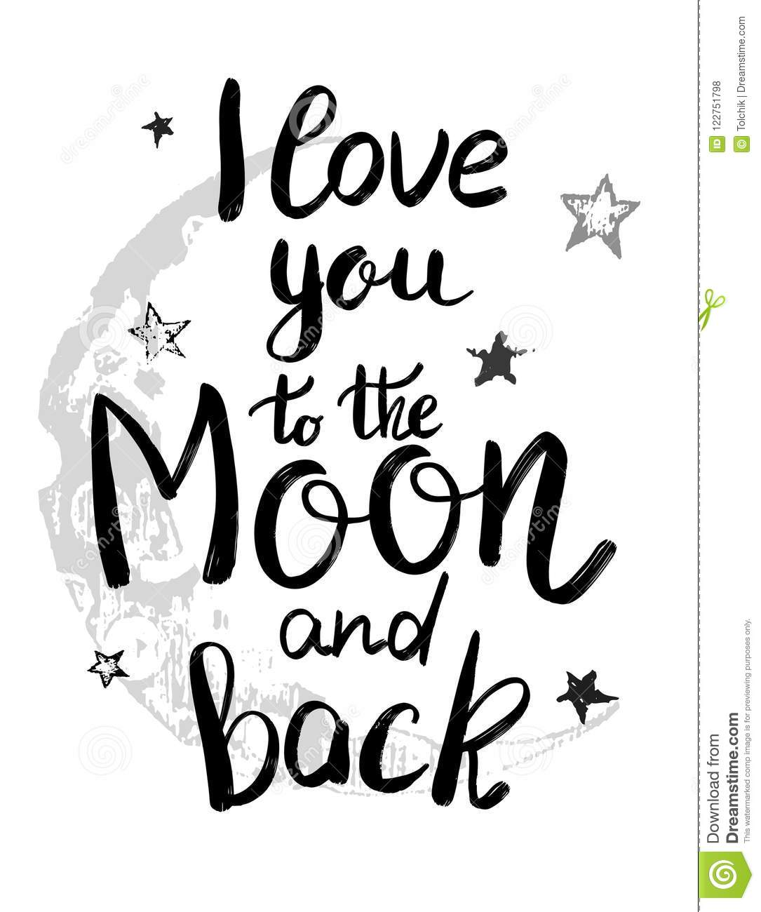 i love you to the moon and back template for card or poster vec