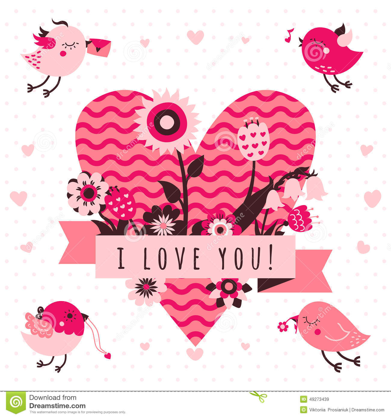 08de47f45dd8 I love you vector card (background) in light and dark pink and brown colors