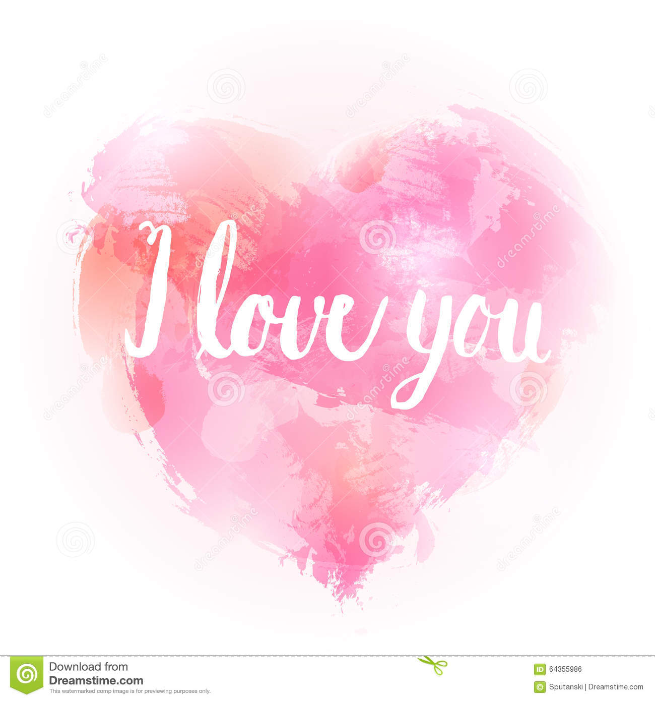 i love you watercolor hand drawing heart poster stock vector