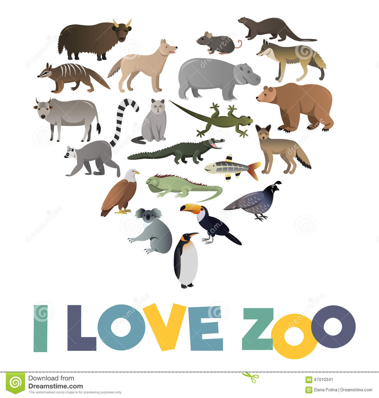 Zoo poster design - I Love Zoo Vector Poster With Animals Images Stock Vector