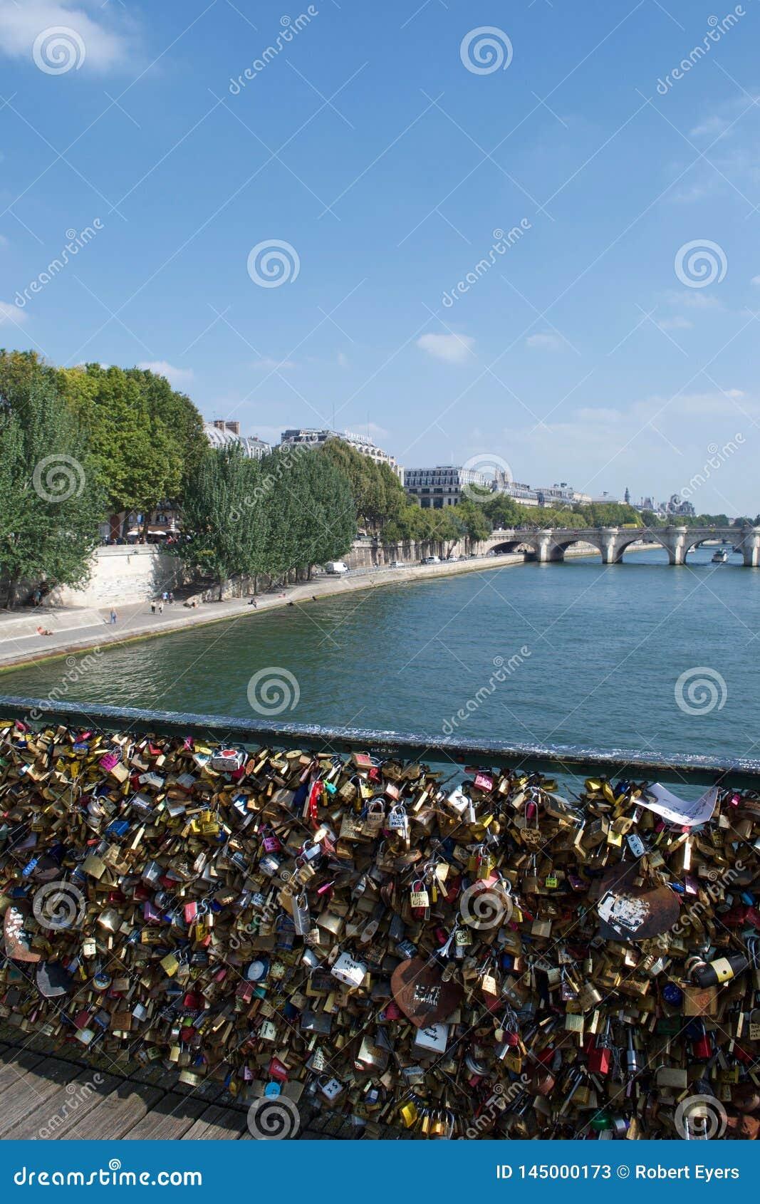 I lucchetti amano le serrature in ponte sopra il fiume la Senna a Parigi, Francia