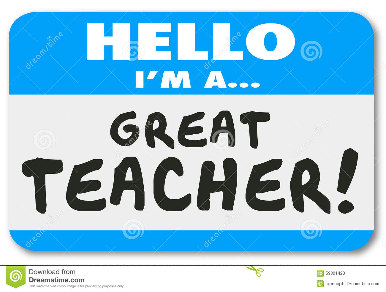 I'm A Great Teacher Name Tag School Education Learning Stock ...