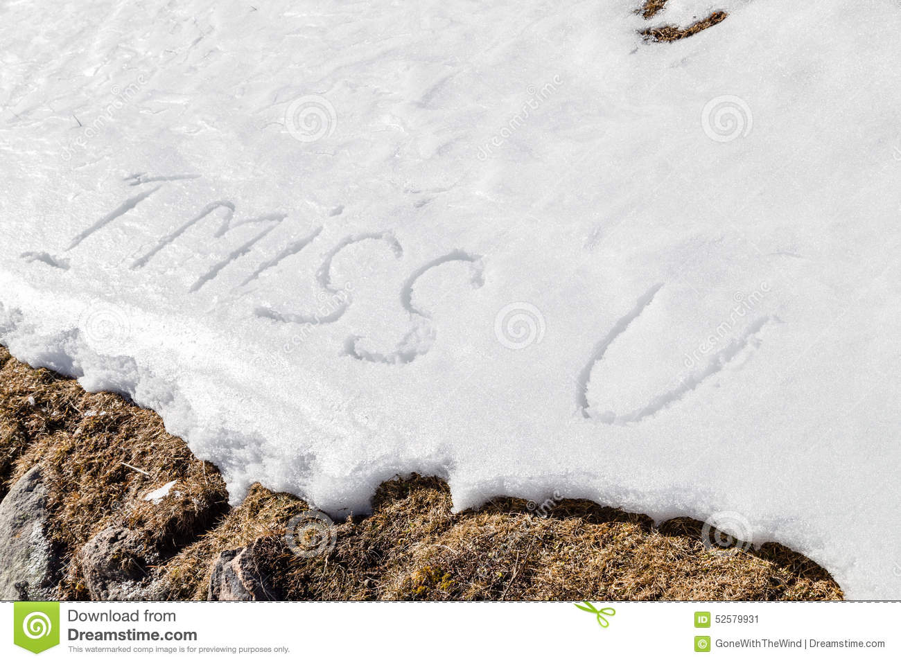 I Miss U Written In The Snow Stock Image Image Of Miss Fresh