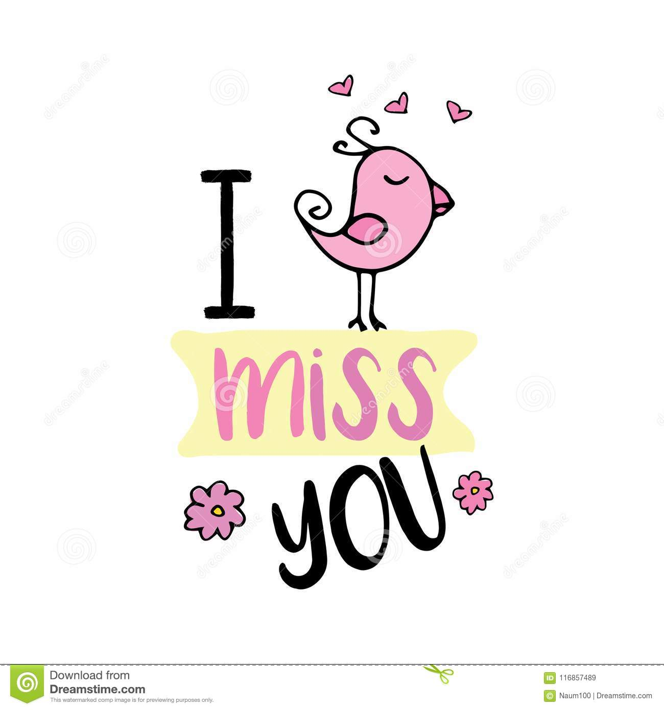 I Miss You Cute Design With Doodle Birdisolated On White Backg