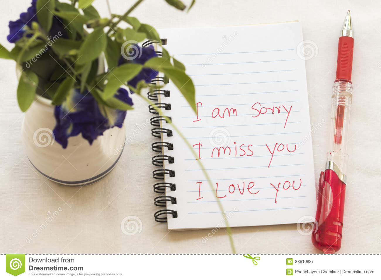 i miss you i am sorry i love you message card write on notebook with