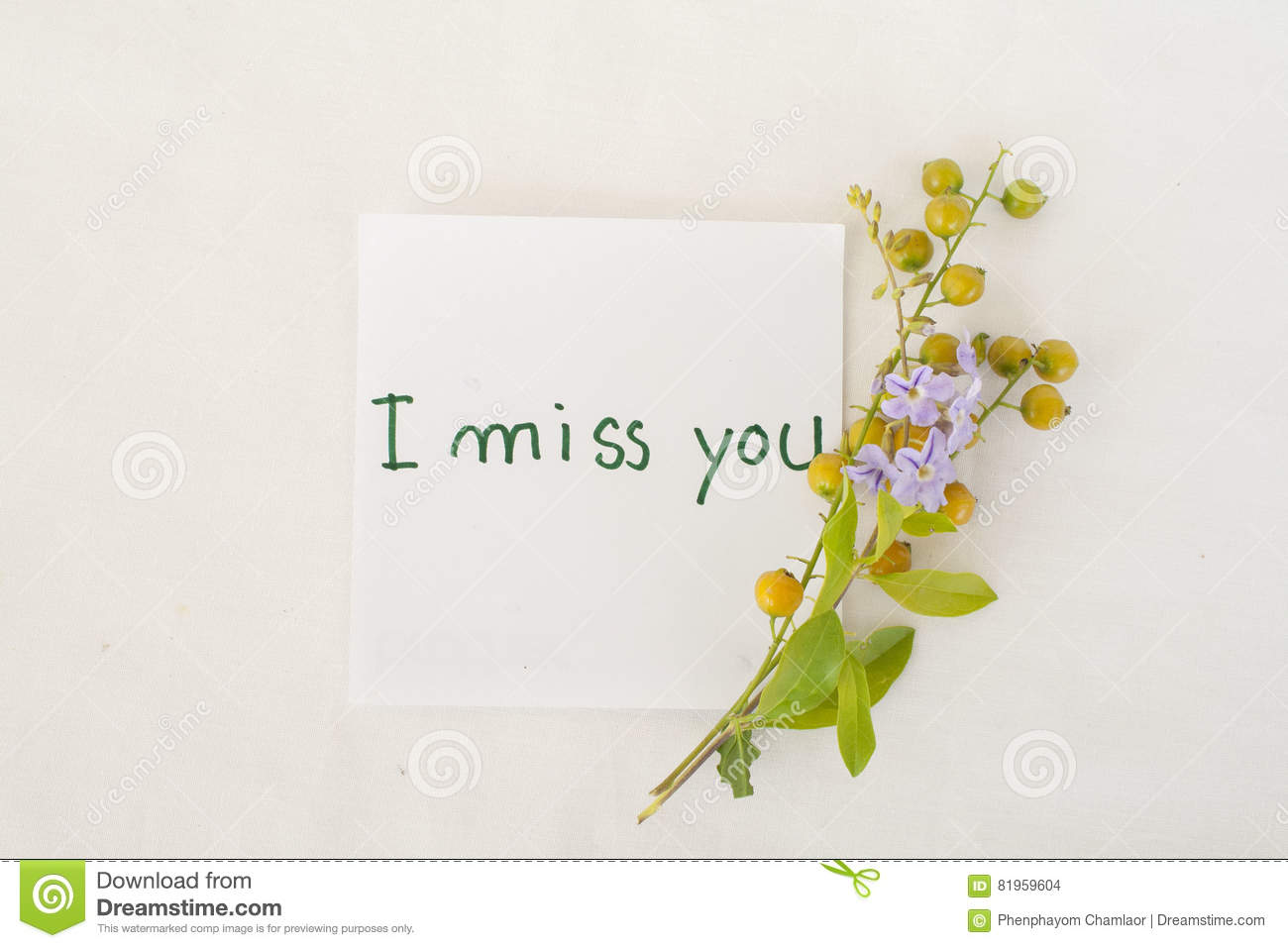 I miss you message card and grain flowers stock photo image of i miss you message card and grain flowers kristyandbryce Image collections