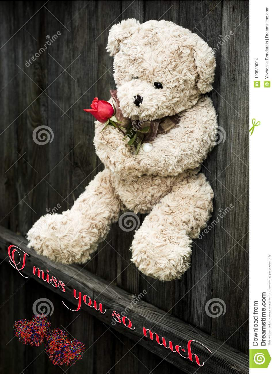 I Miss You So Much Card Illustration Foto Stock Photo Image Of