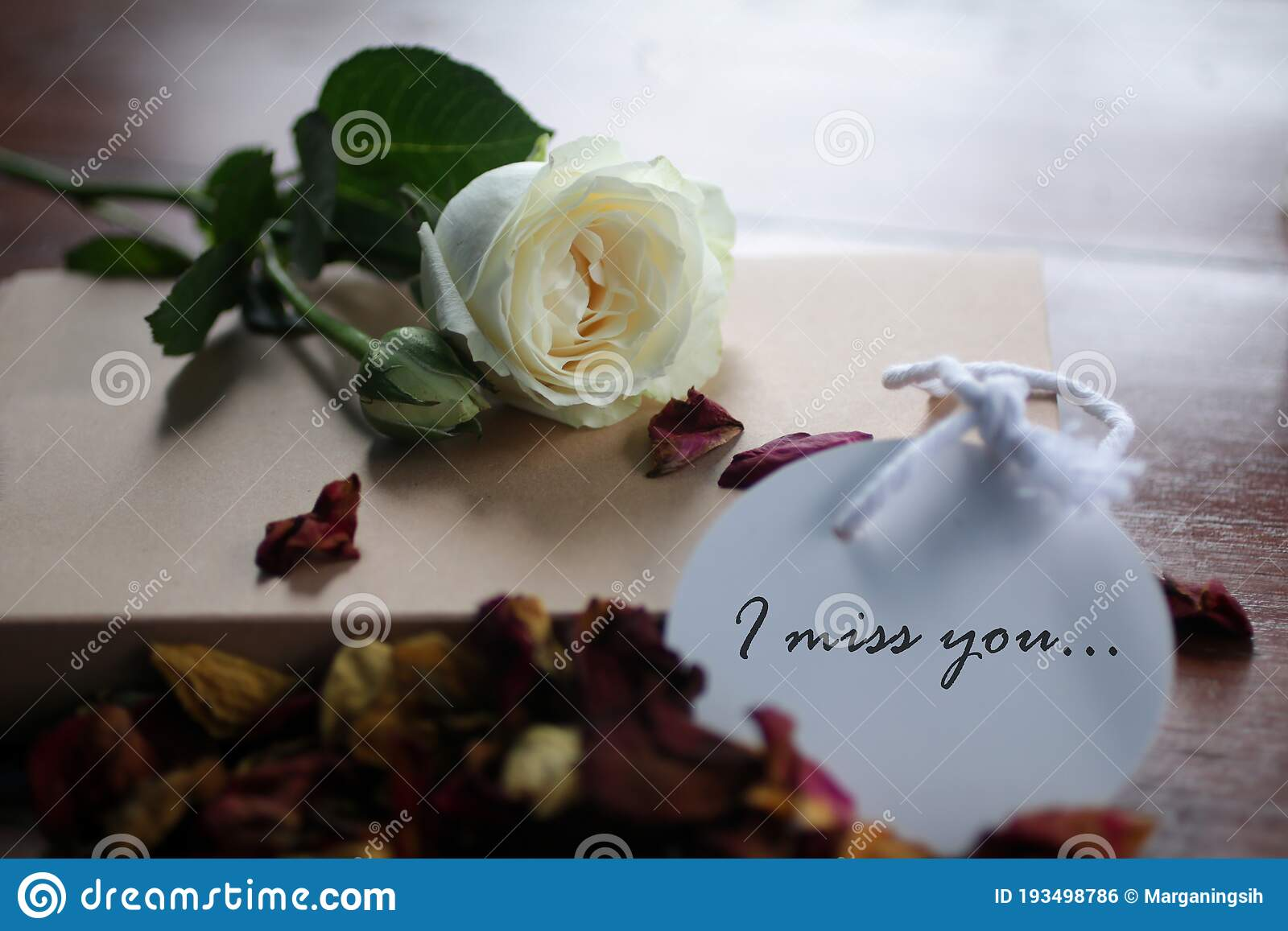 I Miss You Romantic Note Message Written On White Paper Tag Label With Background Of White Rose Lying And Dried Petals Scattered Stock Photo Image Of Composition Important 193498786