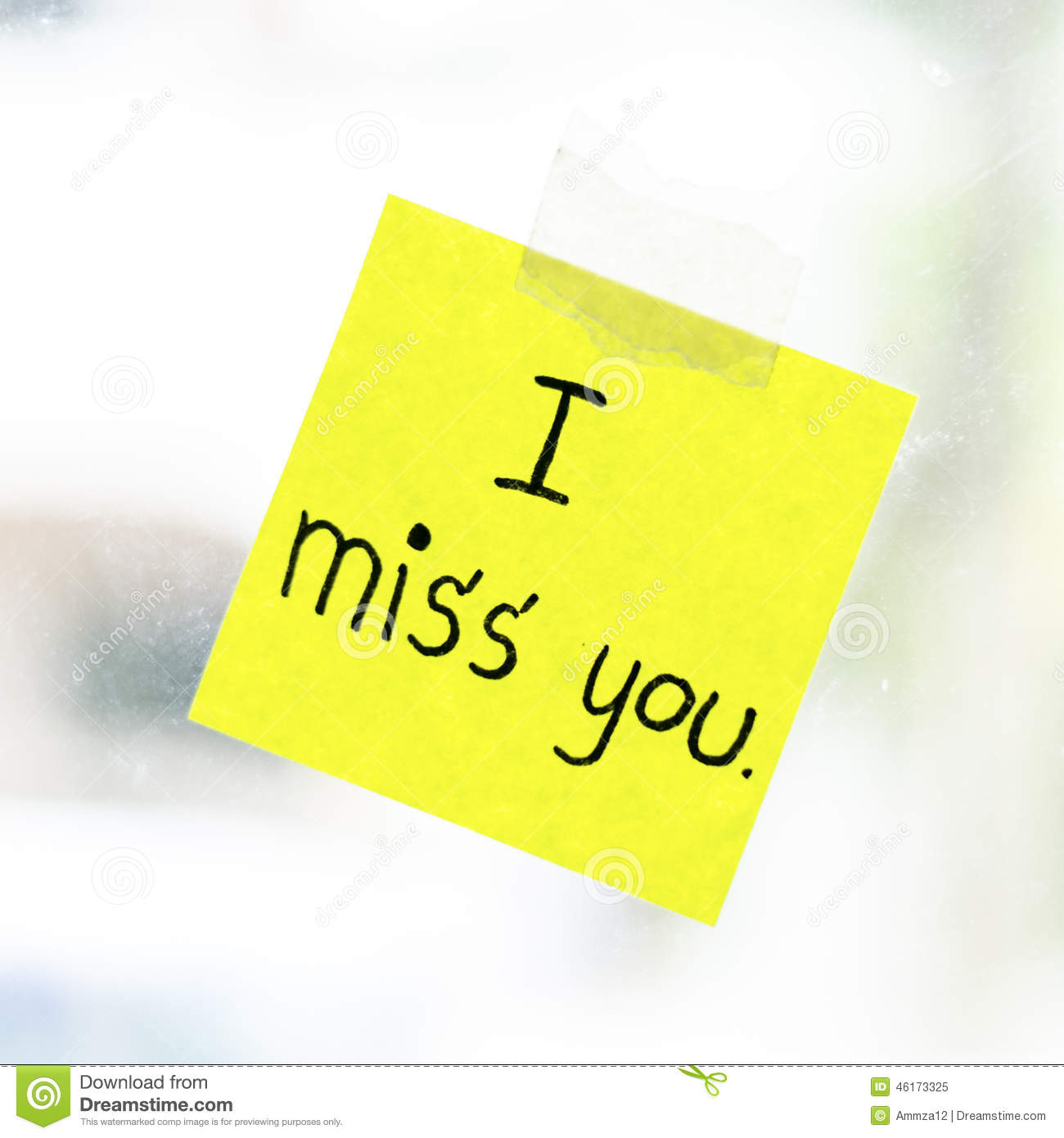 I Miss You Word On Sticky Note Stock Photo - Image: 46160724