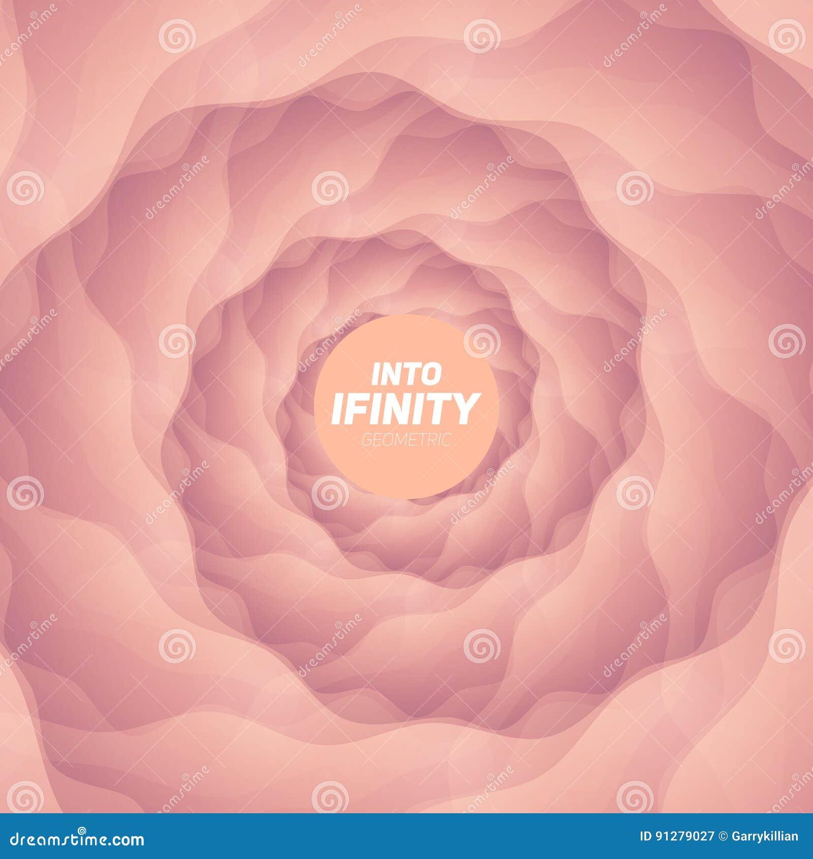 In i oändlighetsgeometri Abstrakt geometrisk koncentrisk ljusröd virvelbakgrund Havsskal som strukturer