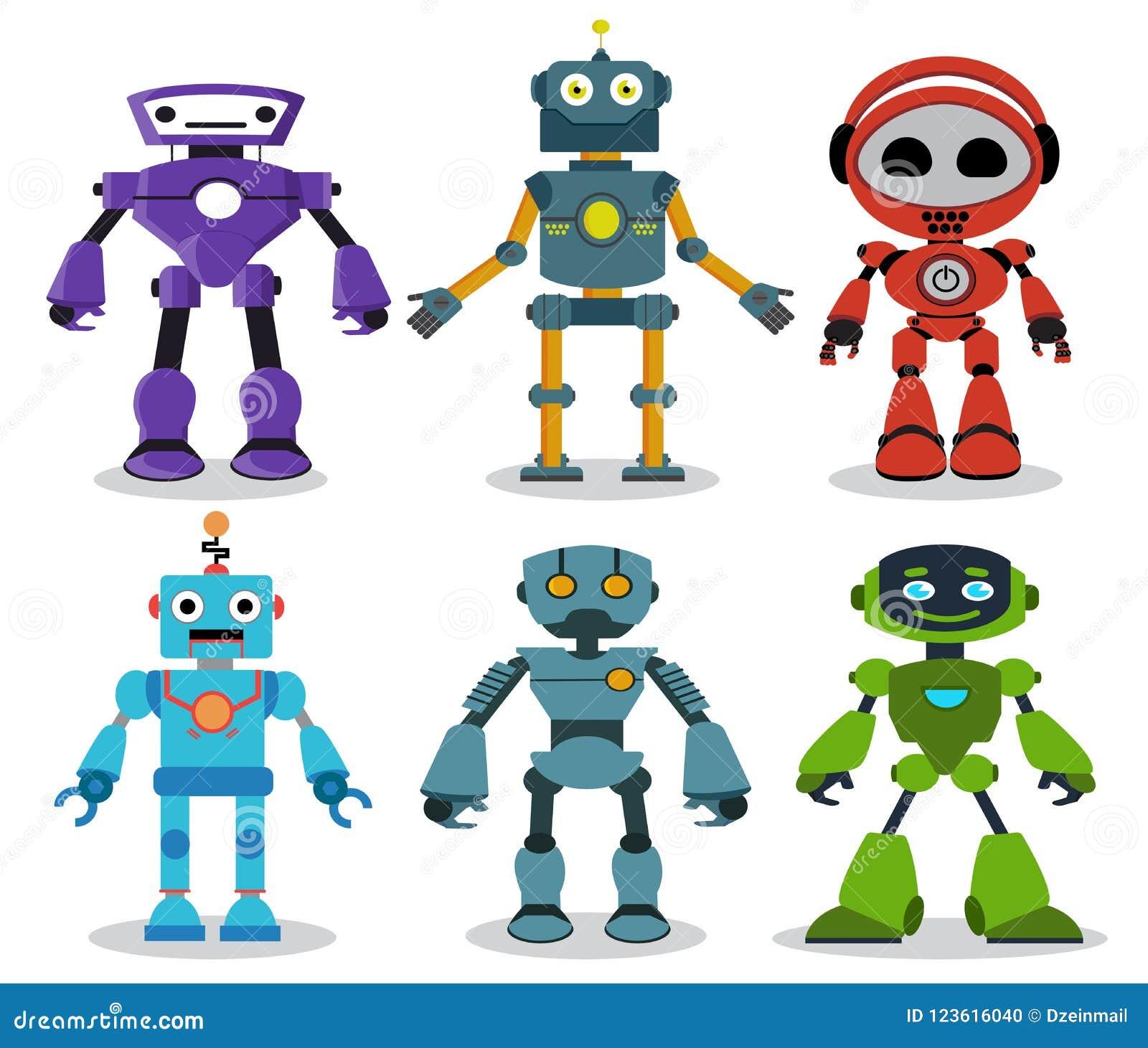 I personaggi dei cartoni animati di vettore dei giocattoli del robot hanno messo con gli sguardi moderni ed amichevoli