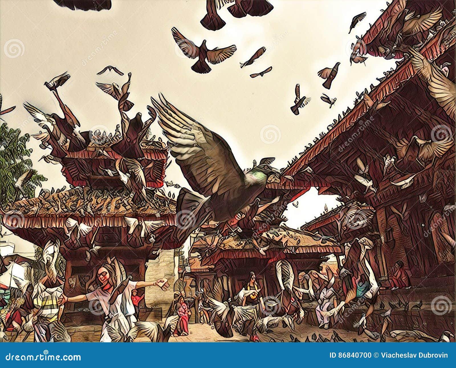 I piccioni sorvolano la vecchia piazza Stormo dei piccioni che vola sull illustrazione digitale d annata