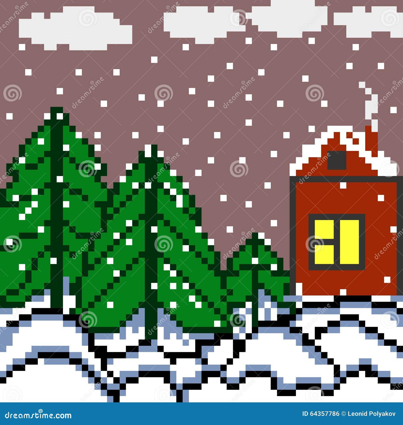 i pixel alloggiano e l 39 illustrazione di vettore del paesaggio dell 39 inverno della foresta. Black Bedroom Furniture Sets. Home Design Ideas
