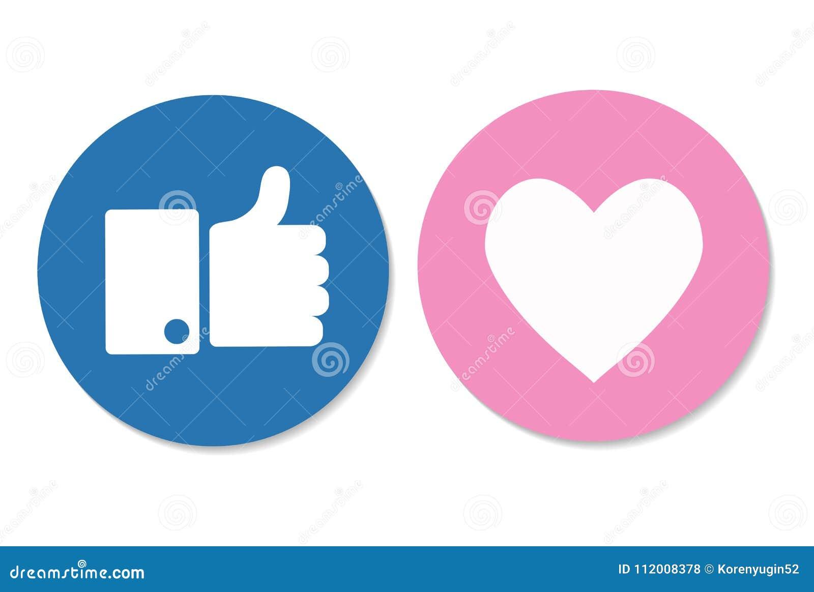 I pollici aumentano e l icona del cuore su un fondo bianco ico sociale di media