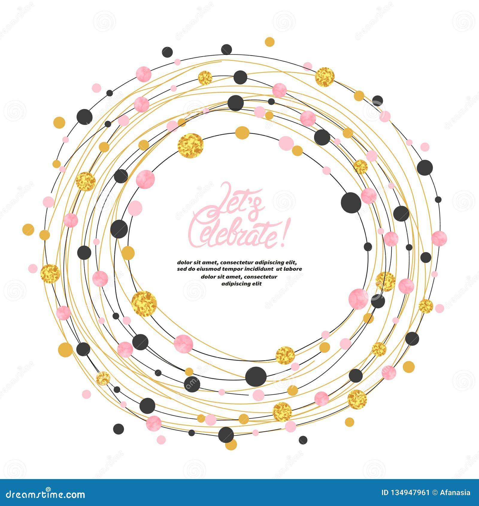 I punti del cerchio incorniciano il confine con il posto per testo Decorazione rotonda di celebrazione di vettore