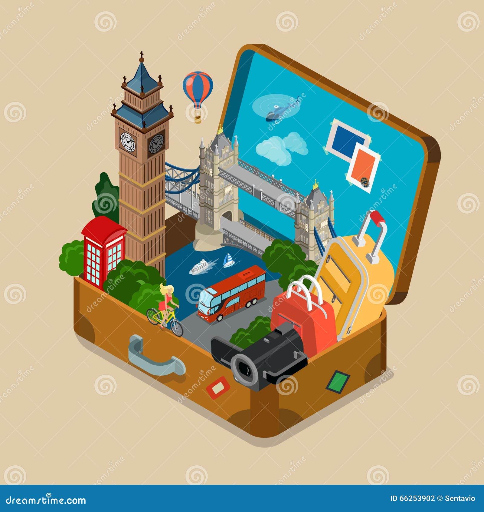 I punti di riferimento di viste della valigia vacation vettore isometrico piano di viaggio