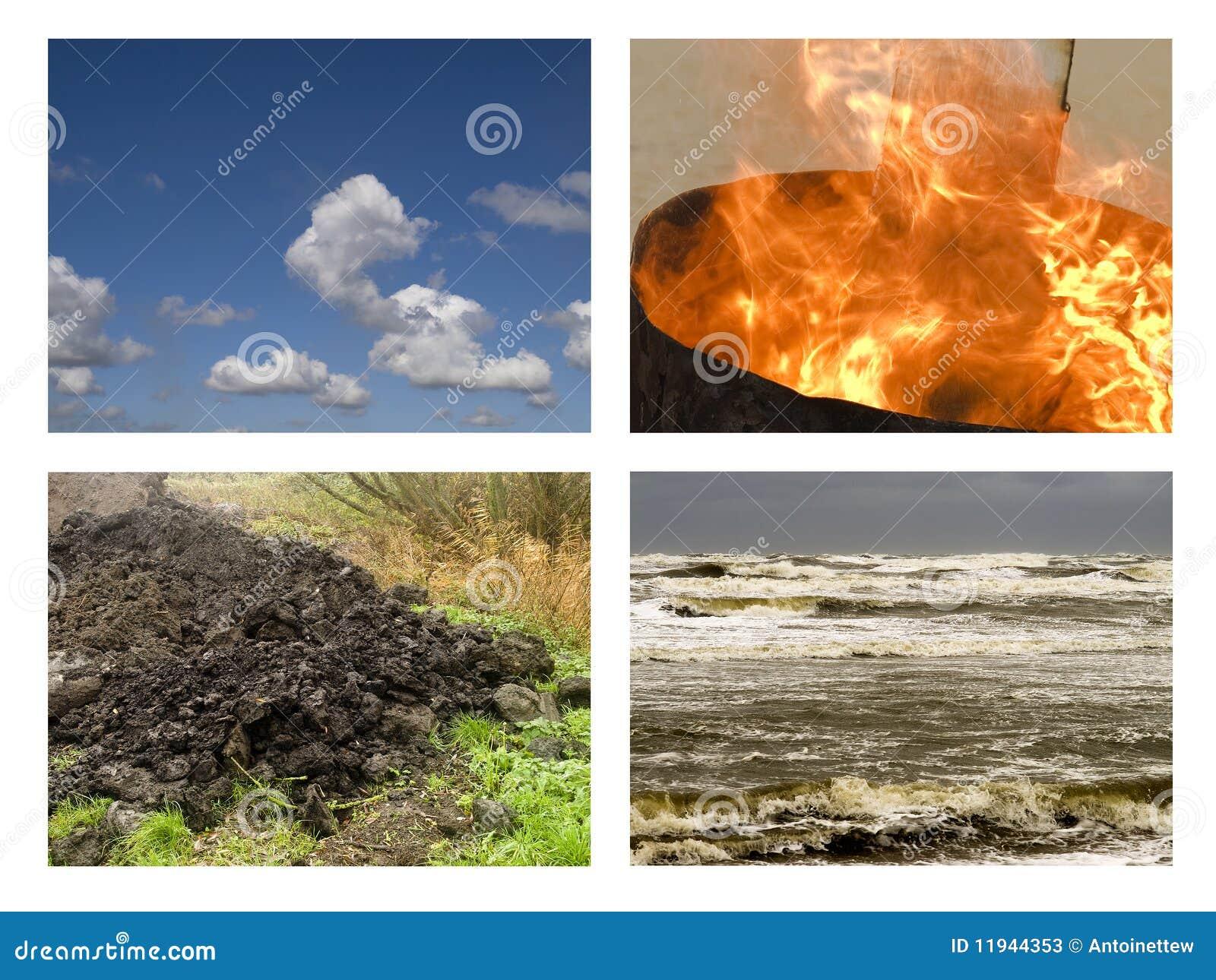 I quattro elementi terra, fuoco, aria ed acqua