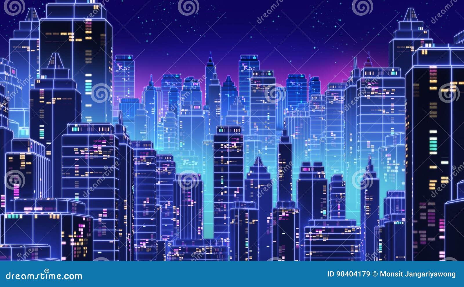 I retro anni 80 futuristici della città del grattacielo disegnano l illustrazione 3d