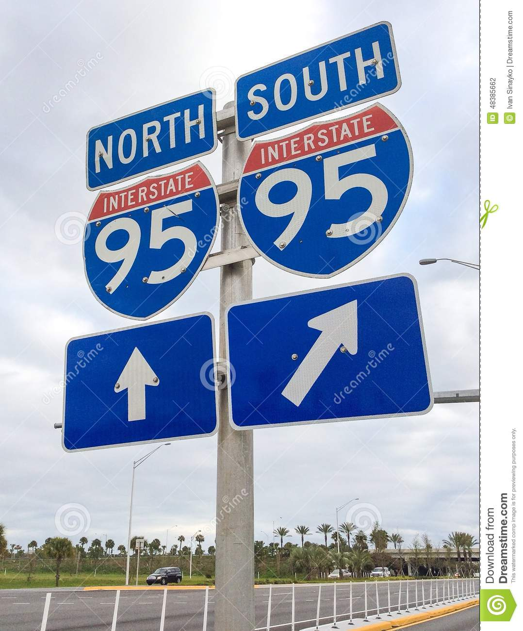 I-95 road sign editorial photography. Image of roadside ...