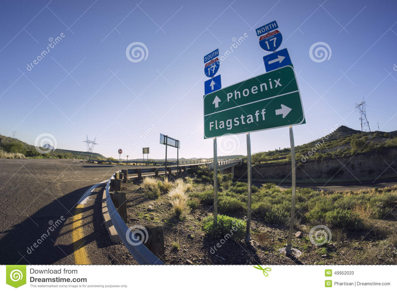 I17 road sign for phoenix and flagstaff arizona stock for Fishing in flagstaff