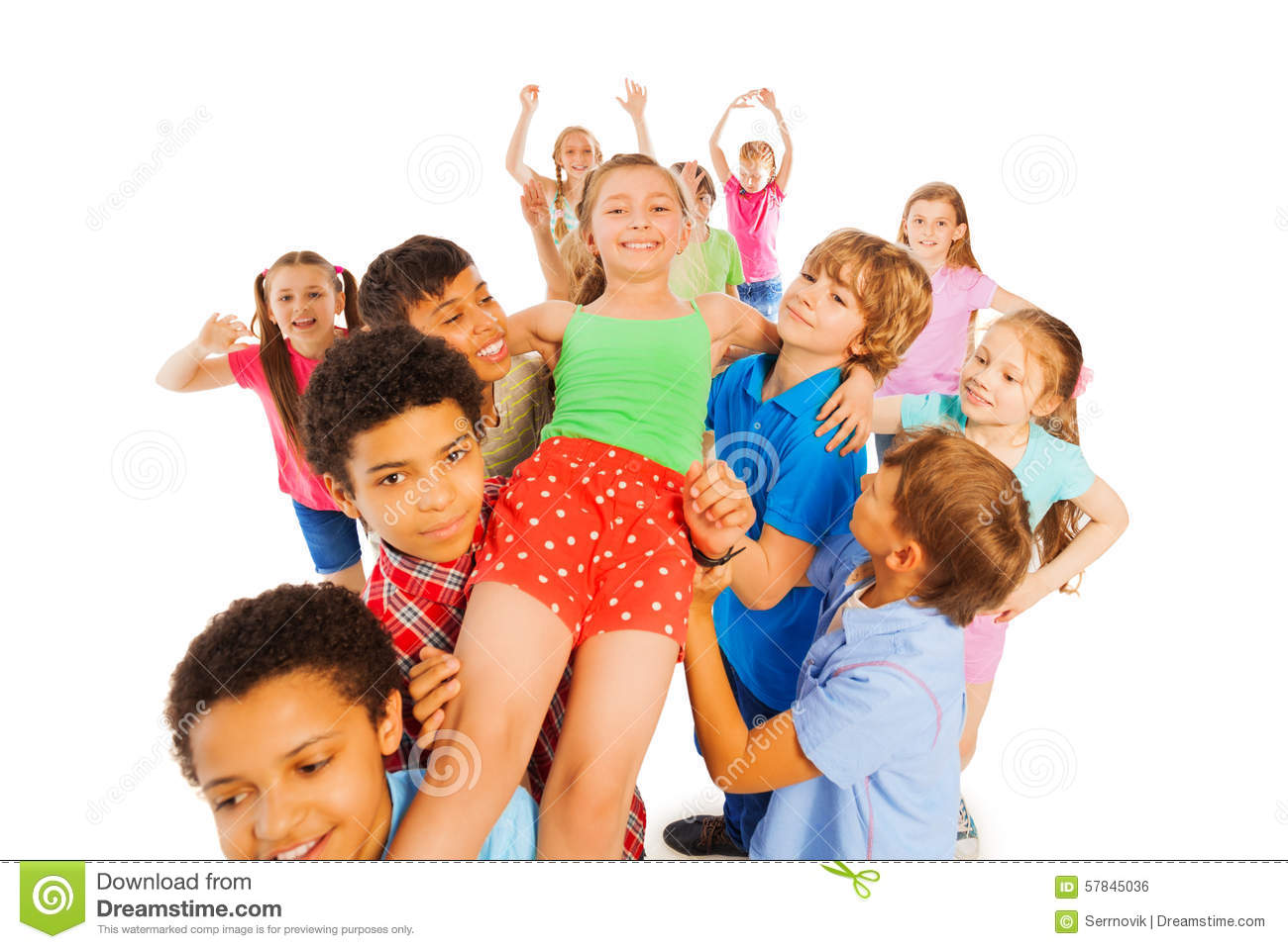 I Am A School Hero Girl Carried By Others Stock Photo ...