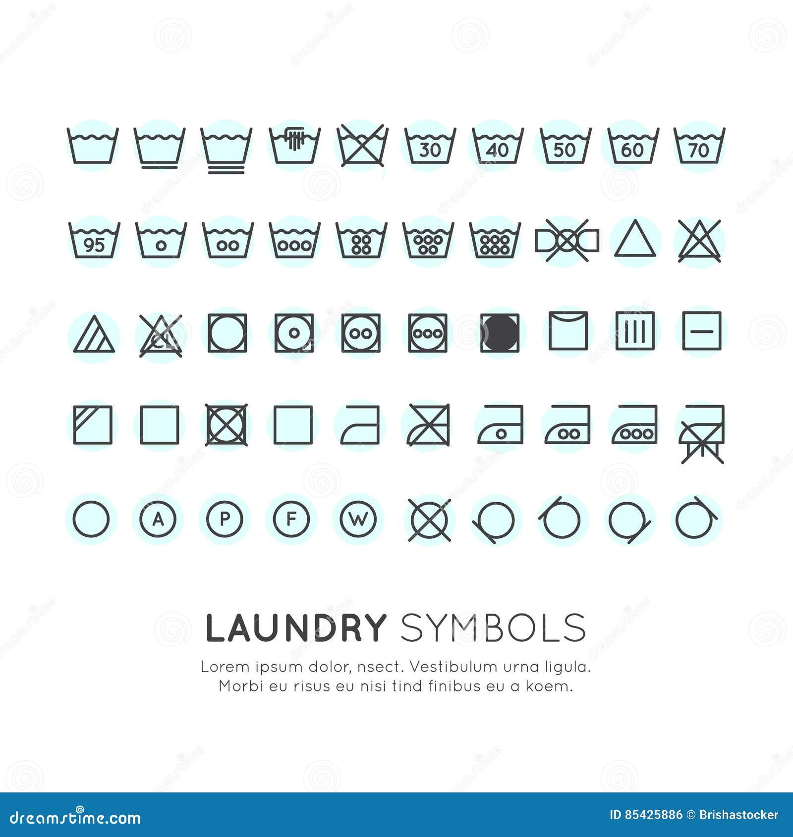Fresco Simboli Etichette Lavaggio Vestiti Le Tendenze Di Stile