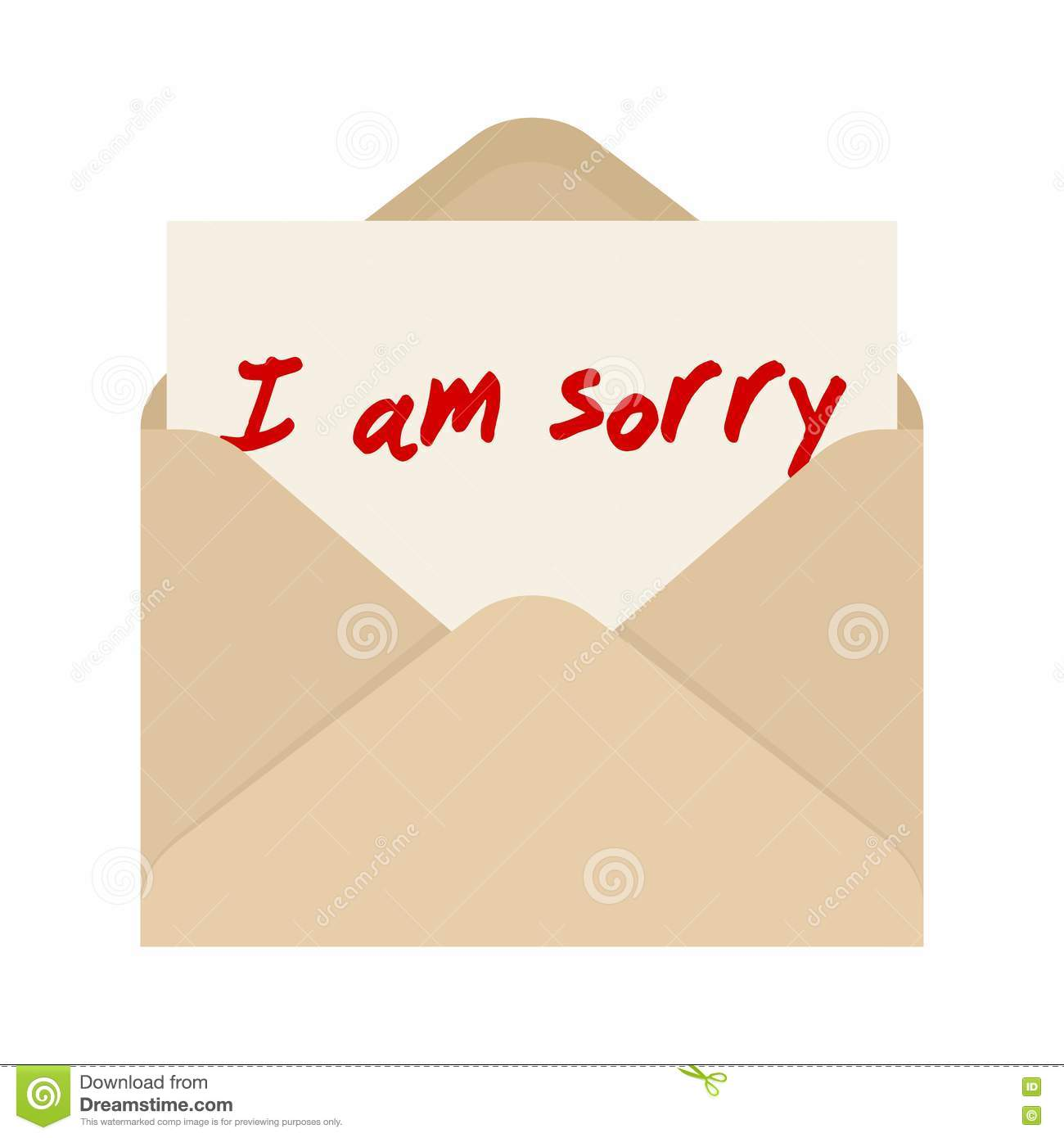 I Am Sorry Card In Brown Envelope The Letter Pulled Out From An