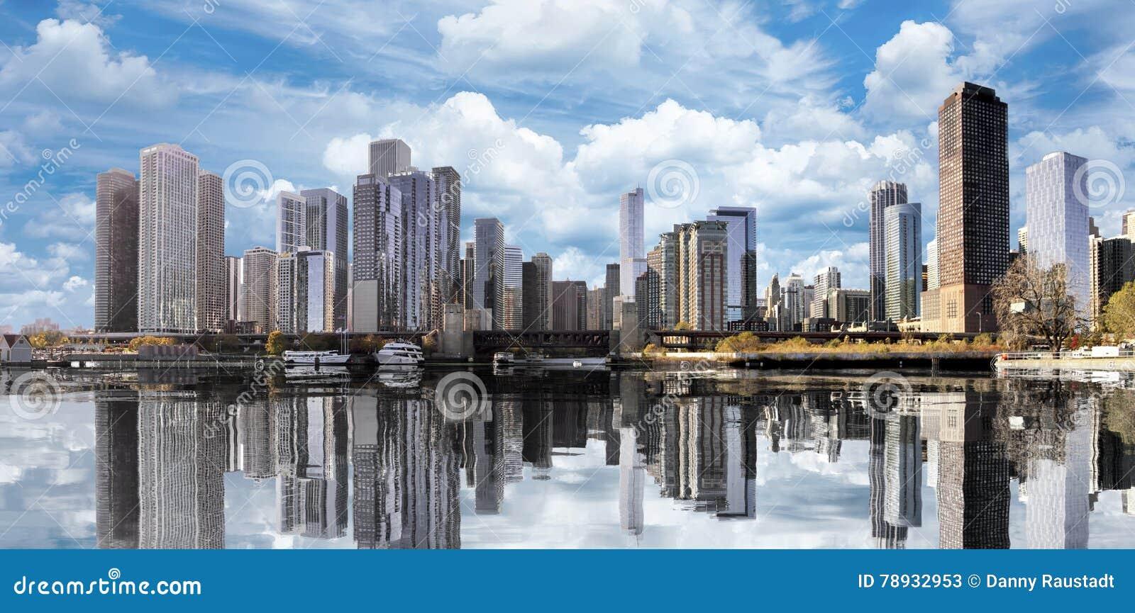 I stadens centrum Chicago reflexioner