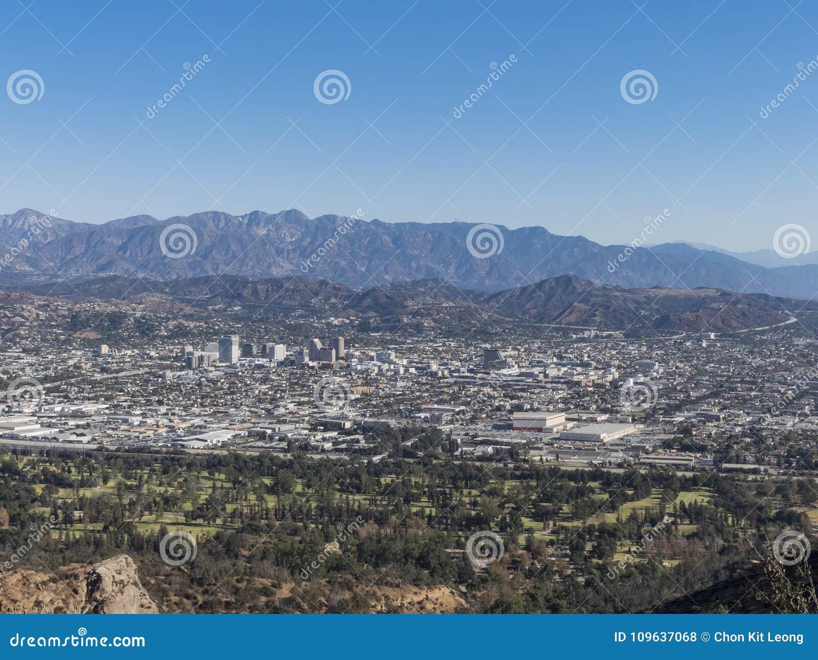 I stadens centrum flyg- sikt av Glendale