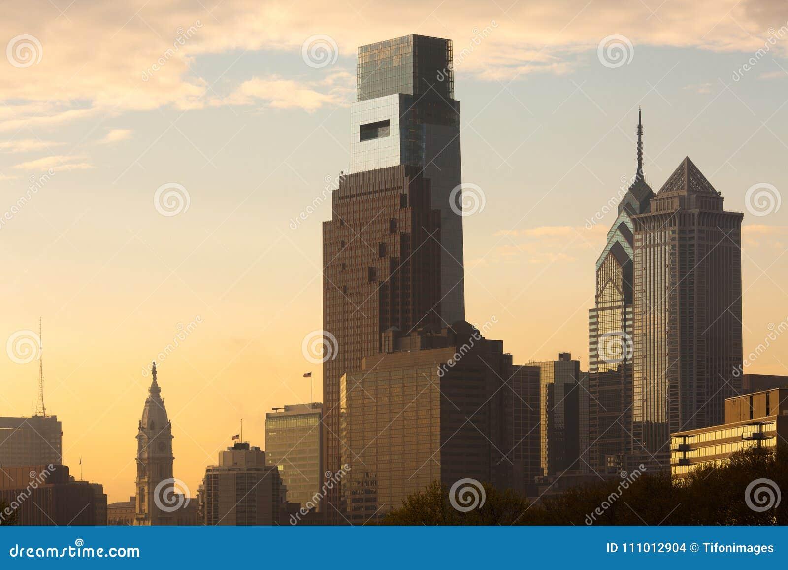 I stadens centrum horisont med staden Hal i Philadelphia