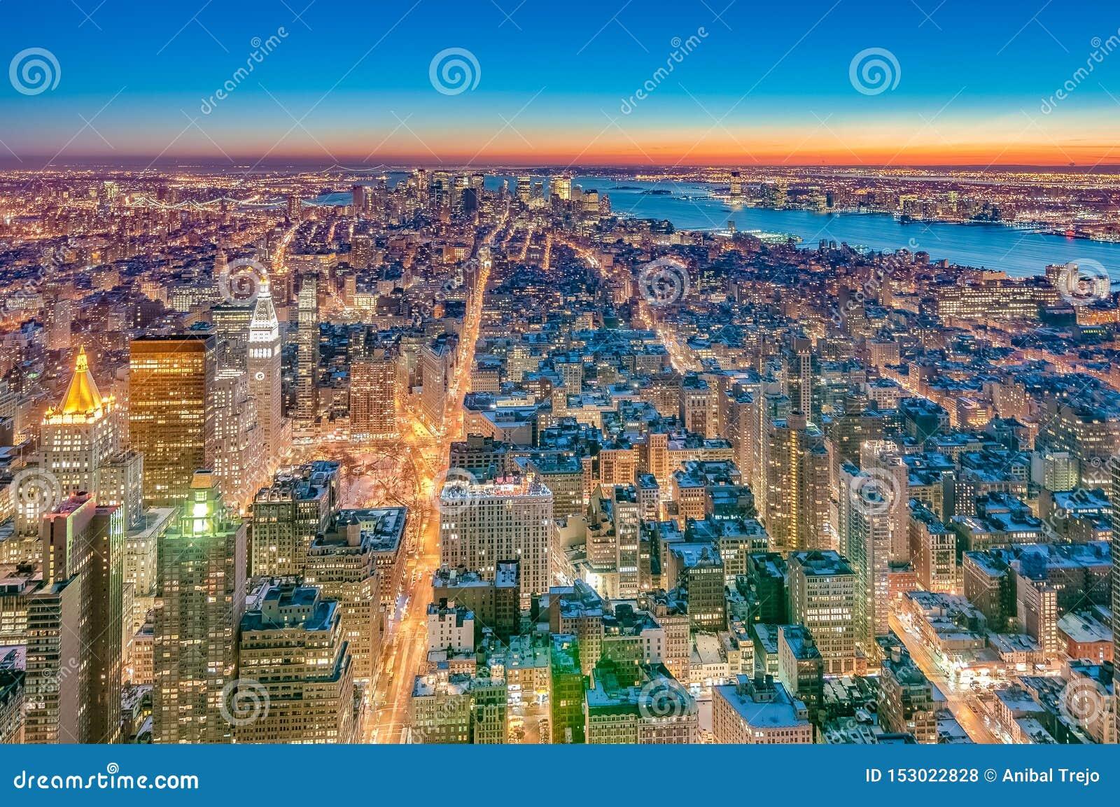 I stadens centrum Manhattan i New York, Förenta staterna