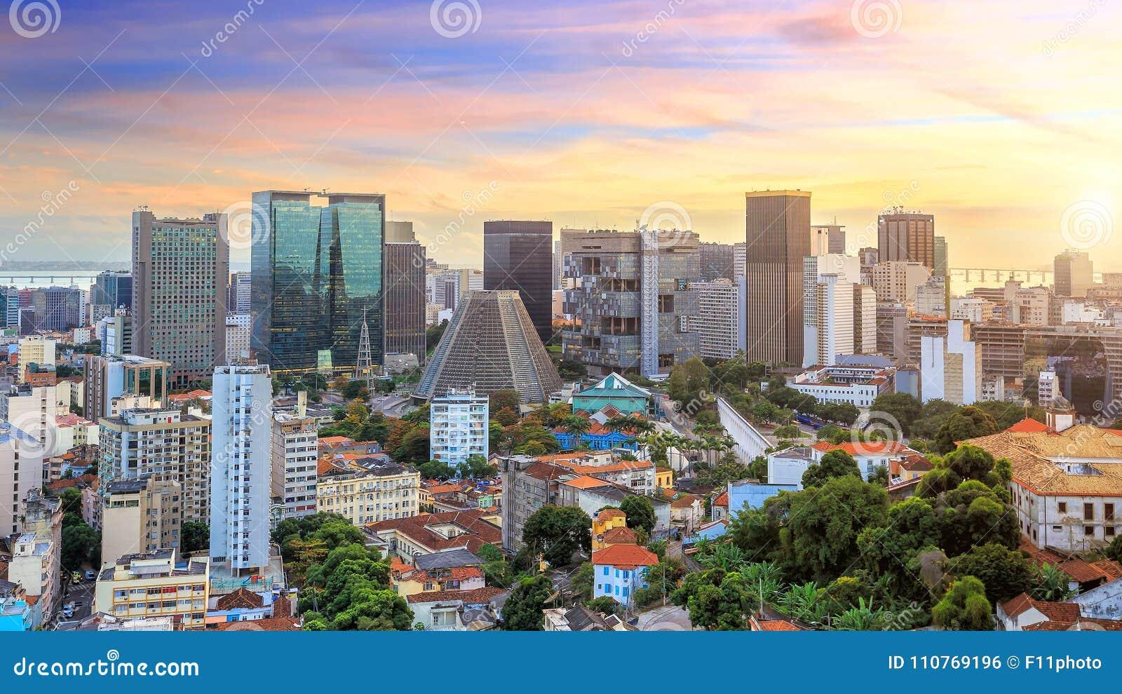 I stadens centrum panoramasikt av Rio de Janeiro