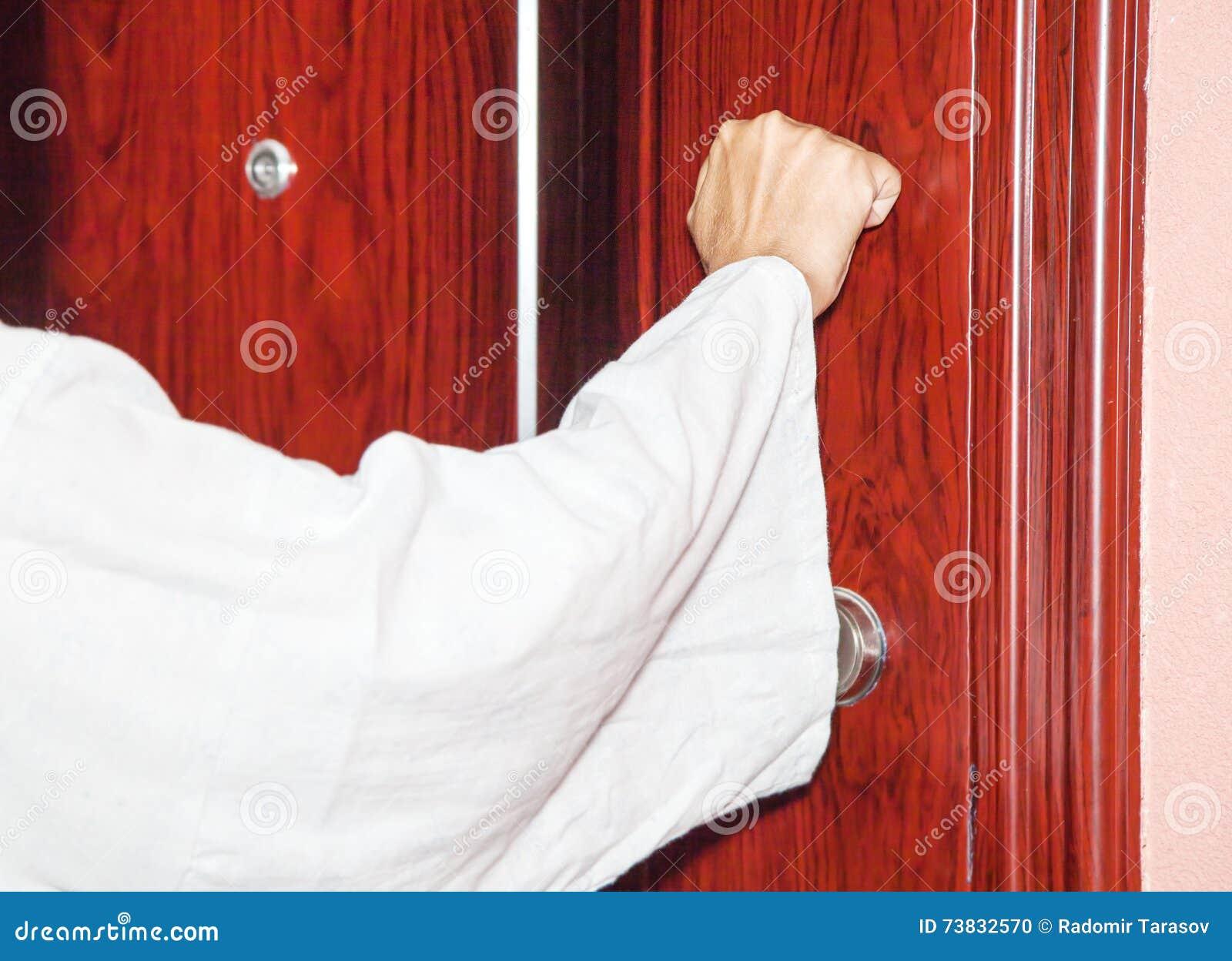 Door knock door knock handle of door number 8 stock image for Door knocking sound