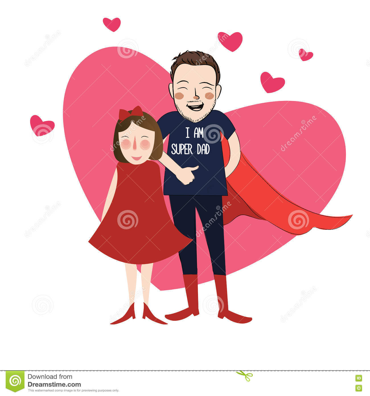 I Am Super Dad Illustration Cartoon Girl Daughter With Her Lovely Father Stock Vector Image