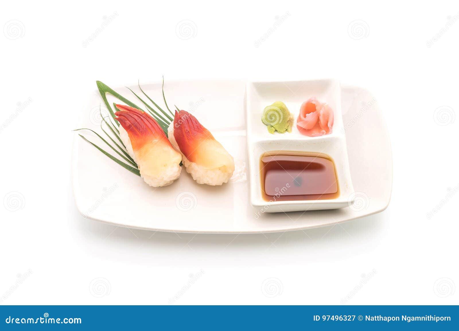 I sushi di nigiri della cappa americana di Stimpson (hokkigai) - alimento giapponese s